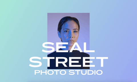 A portrait of a person with the words 'Seal Street Photo Studio' overlaid in white, set on a blue and green ombré background.