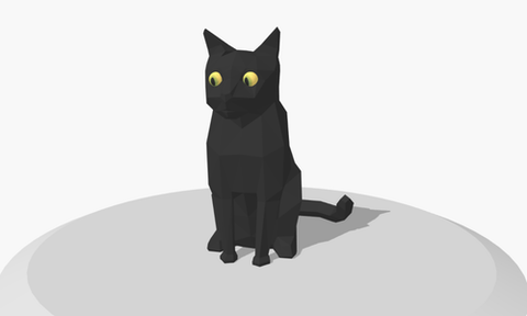 A 3D model of a cat with an alarming expression, sitting on a grey rounded surface.