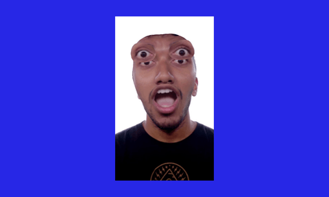 An image of a person with their eyes duplicated and popping out of their head, set on an electric blue background.